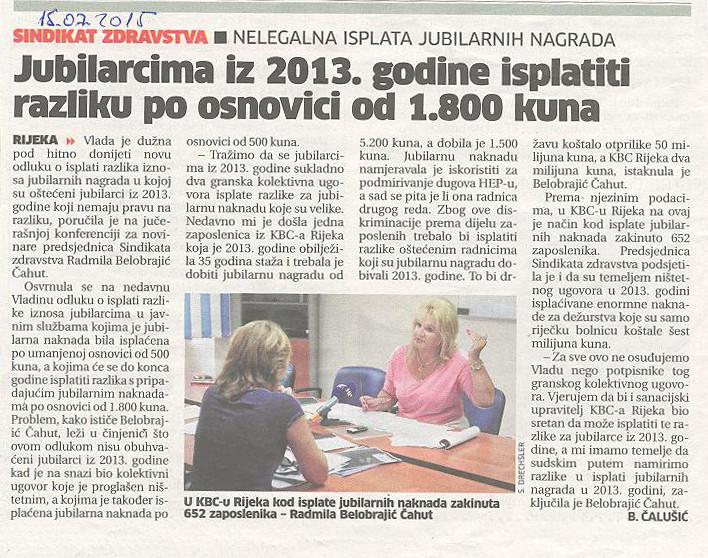 Sindikat Zdravstva: Jubilarcima iz 2013. isplatiti razliku po osnovici od 1800kn