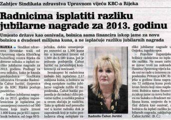 Radnicima isplatiti razliku jubilarne nagrade za 2013. godinu