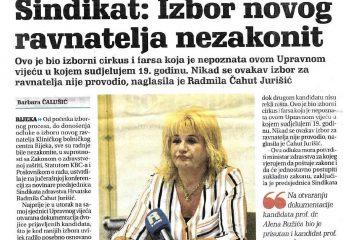 Sindikat: Izbor novog ravnatelja nezakonit