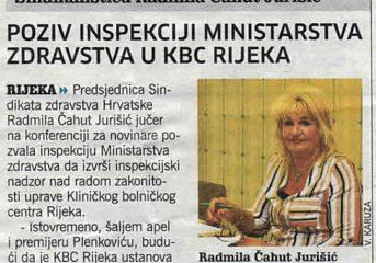 Poziv inspekciji Ministarstva zdrastva u KBC Rijeka